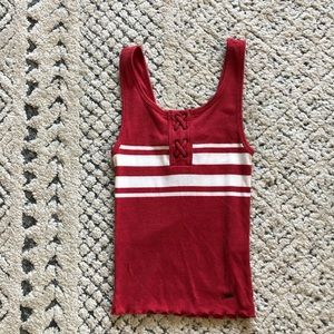 COPY - Hollister White+Red Striped Cropped Tank T…